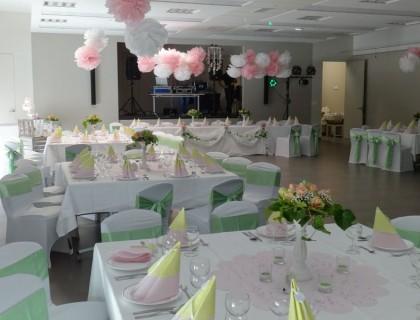 Décoration salle rose et vert