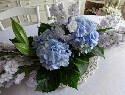 Composition hortensia bleu