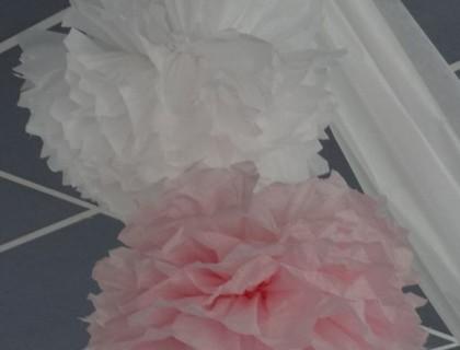 Pompons rose et blanc