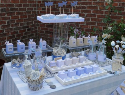 Table anniversaire bleu