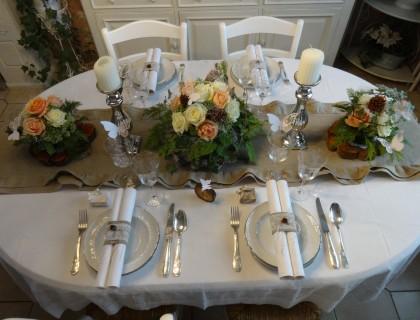 Décoration table lin et dentelle